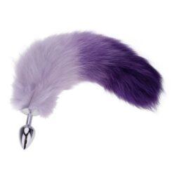 Eros Anal Plug Fox Tail Stainless Steel Unisex Butt Plug Purple