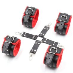 Black and red cuffs with cross buckle